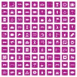 100 railway icons set grunge pink. 100 railway icons set in grunge style pink color isolated on white background vector illustration Royalty Free Stock Photos