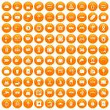 100 railway icons set orange. 100 railway icons set in orange circle isolated on white vector illustration Stock Image