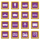 Railway icons set purple. Railway icons set in purple color isolated vector illustration for web and any design Royalty Free Stock Photo