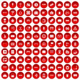 100 railway icons set red. 100 railway icons set in red circle isolated on white vector illustration Stock Image