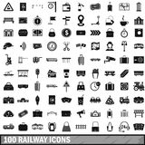 100 railway icons set, simple style. 100 railway icons set in simple style for any design vector illustration stock illustration