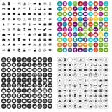 100 railway icons set vector variant. 100 railway icons set vector in 4 variant for any web design isolated on white Stock Photo