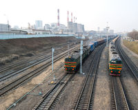 Railway in industrial area Stock Photos