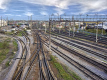 Railway industry. In the city royalty free stock photos