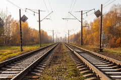 Railway infrastructure in autumn Royalty Free Stock Images