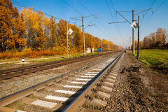 Railway infrastructure in autumn Stock Images