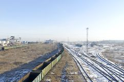 Railway interchange in the industrial area of the city. Russia. Siberia stock photo