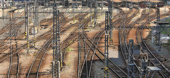 Railway intersections. Prague, Czech Republic. Stock Image