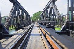 Railway on iron bridge. Railway on big black iron bridge Royalty Free Stock Photo