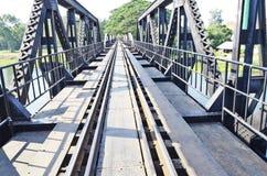 Railway on the iron bridge. Of kwae river Stock Photo