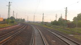 Railway journey point of view. Train journey driver`s point of view stock video footage
