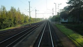 Railway journey POV stock footage