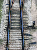 Railway junction. Single railway track splitting into two Royalty Free Stock Images