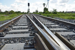 Railway with  junction control. Railway junction technical control close up Stock Images