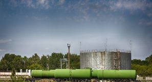 Railway junction of fuels and lubricants. Rail tank cars and cistern for fuel royalty free stock image