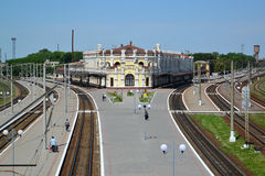 Railway junction of Kazatin, Ukraine. Top view Stock Images
