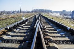 Railway. Junction,  tracks, high-speed  from rail and sleepers Royalty Free Stock Photo