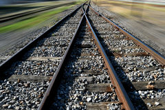 The railway junction  and speed motion background Stock Images