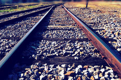 The railway junction  and speed motion background (Retro style) Royalty Free Stock Photography