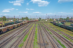 Railway junction station. City nodal railway yard on which sorting of freight railway trains takes place Stock Image