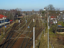 Railway junction taken from bridge above. In Pardubice city, Czech Republic Royalty Free Stock Photography