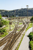 The railway junction in the town of Bar in Montenegro Royalty Free Stock Images