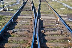 Railway. Junction,  tracks, high-speed  from rail and sleepers Royalty Free Stock Photos