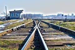Railway. Junction,  tracks, high-speed  from rail and sleepers Stock Photo