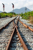 Railway junction in vertical Royalty Free Stock Photography
