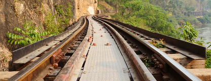 Railway on Kwai river in Thailand Royalty Free Stock Image