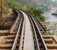 Railway on Kwai river in Thailand Royalty Free Stock Photos