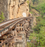 Railway on Kwai river in Thailand Stock Photography