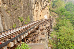 Railway on Kwai river in Thailand Royalty Free Stock Photo