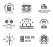 Railway Label Set. Railway corporation railroad department fast train express black label set isolated vector illustration Stock Photography