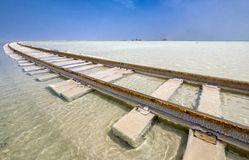 The railway laid on top of the salt lake in the water Royalty Free Stock Image