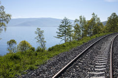 Railway lake Baikal. In Russia stock photography