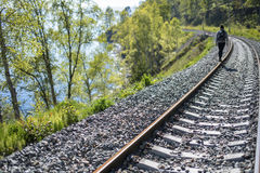 Railway lake Baikal. In Russia stock photo