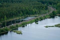 Railway between lakes Royalty Free Stock Photo