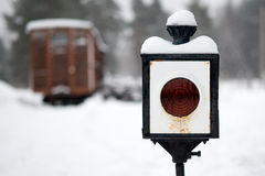 Railway lamp. In the winter in a blizzard Stock Image
