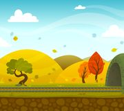 Railway Landscape. Autumn railway 2d game landscape with roadway and hills on background flat vector illustration Stock Photo