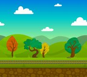 Railway Landscape. Railway game 2d landscape with trees and hills on background flat vector illustration Royalty Free Stock Photos