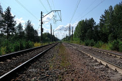 The railway leaving afar Stock Image