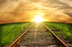 The railway leaving afar Royalty Free Stock Photos