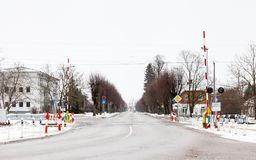 Railway Level Crossing in Sigulda. The view across a railway level crossing in Sigulda. Sigulda is a town in Latvia Royalty Free Stock Photos
