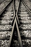 Railway line. Rail track cross roads outdoor Royalty Free Stock Photo