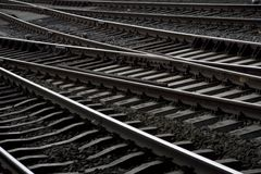Railway line from Central Station Amsterdam. Detail of railway line from Central Station Amsterdam, Netherlands Stock Images