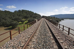Railway line Cordoba - Almorchon, bridge of Las Navas, view from the Los Puerros, can be seen in the foreground, municipality of E Royalty Free Stock Photo