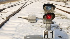 Railway line into the distance with winter snow stock footage