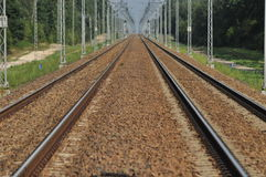 The railway line. Electric traction. Tracks for trains. Royalty Free Stock Photos