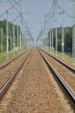 The railway line. Electric traction. Tracks for trains. Stock Photography